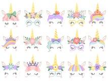 Unicorn Face De mooie gezichten van poneyeenhoorns, magische hoorn in de kroon van de regenboogbloem en leuke wimpers vectorillus vector illustratie