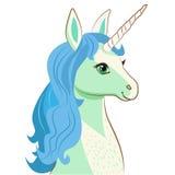 Unicorn Face Vettore del fumetto Carta di motivazione con l'unicorno sveglio Unicorn Face Emoji Unicorn Face Mask Immagini Stock Libere da Diritti