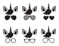 Unicorn Face Wearing Glasses and Sunglasses Silhouette Vector. Cute unicorn wearing glasses and sunglasses face silhouette vector illustration vector illustration