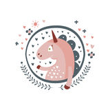 Unicorn Fairy Tale Character Girly Sticker In Round Frame Royalty Free Stock Photos