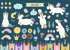 Unicorn and fairytale isolated elements for your design Stock Images