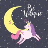 Unicorn fantasy cartoons. Unicorn and moon smiling be unique fantasy cartoons graphic digital image vector illustration