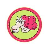Unicorn in pink circle on a green background. It can be used for sticker, badge, card, patch, phone case, poster, t-shirt. Unicorn fashion patch,with smiling Royalty Free Illustration