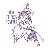 Unicorn with flamingo. Best friends forever. Vector greeting car. Unicorn with flamingo. Best friends forever Royalty Free Stock Photos