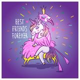Unicorn with flamingo. Best friends forever. Vector greeting car. Unicorn with flamingo. Best friends forever royalty free illustration