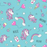 Unicorn and flamingo pattern on a lilac background. Colorful trendy seamless pattern. Fashion illustration drawing in modern style. For clothes. Drawing for vector illustration