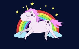 The unicorn flies in front of rainbow. Cute unicorn flies in front of a rainbow, clouds and stars Royalty Free Stock Image