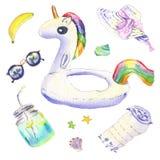 Unicorn float watercolor stock illustration