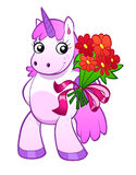 Unicorn with the flowers. Pink cartoon unicorn gives a bouquet of red flowers Stock Photo