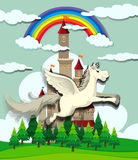Unicorn flying over the castle Stock Image
