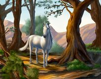 Unicorn in the forest stock illustration