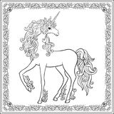 Unicorn in the frame, arabesque in the royal, medieval style. Ou Stock Images