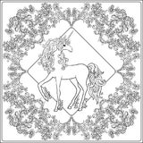 Unicorn in the frame, arabesque in the royal, medieval style. Ou Royalty Free Stock Photos