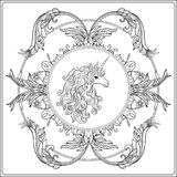 Unicorn in the frame, arabesque in the royal, medieval style. Ou. Tline drawing coloring page. Coloring book for adult. Stock vector.rr royalty free illustration