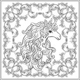 Unicorn in the frame, arabesque in the royal, medieval style. Ou Royalty Free Stock Images