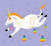 The unicorn with freckles, eats lollipop Royalty Free Stock Photo
