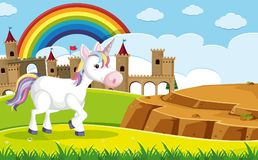 A Unicorn in front of Castle. Illustration vector illustration