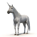 Unicorn with Fur on White Background Royalty Free Stock Photo