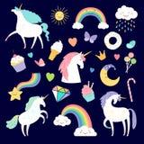 Unicorn and girlish elements rainbow, brilliant and cake. Vector unicorn and cake, sweet and horn illustration stock illustration