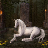 Unicorn in a glade. Beautiful unicorn in a glade Royalty Free Stock Images