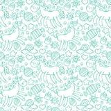 unicorn Godis och muffin Sömlös modellbakgrund Arkivbild