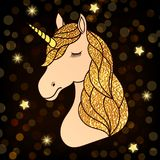 Unicorn with golden hair. Head of hand drawn unicorn with golden hair on dark night background stock illustration