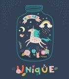 Unicorn. Greeting card. Cute vector card. Cute vector card. Unicorn. Greeting card stock illustration