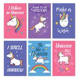 Unicorn Greeting Card Set illustration libre de droits