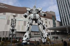Unicorn gundam winter front side royalty free stock images