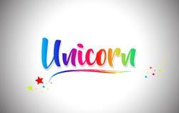 Unicorn Handwritten Word Text com cores do arco-íris e Swoosh vibrante ilustração do vetor