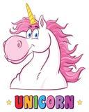 Unicorn Head Classic Cartoon Character mágico sonriente Imágenes de archivo libres de regalías