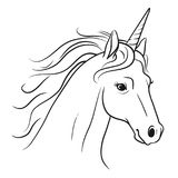 Unicorn head with flowing mane hand drawn black and white pen an. D ink style line drawing illustration. Fantasy mythical creature, fairy tales, dreams, hope Royalty Free Stock Photography