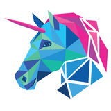 Unicorn head. Low poly design vector illustration  on white background Royalty Free Stock Images