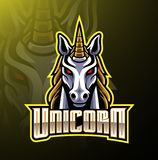 Unicorn head mascot logo design vector illustration