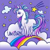 Unicorn head portrait  illustration. Magic fantasy horse   Royalty Free Stock Photography
