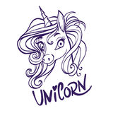 Unicorn head portrait vector illustration. Magic fantasy horse d Stock Photos