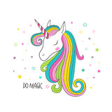 Unicorn head. Vector illustration for clothing
