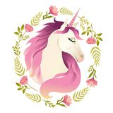 Unicorn head in wreath of flowers. Watercolor illustration.  royalty free illustration
