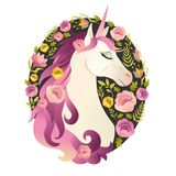 Unicorn head in wreath of flowers Watercolor illustration. Stock Photos