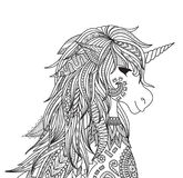 Unicorn head. Zendoodle design of unicorn head for adult and kids coloring book page. Vector illustration Stock Photos