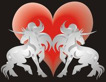 Unicorn and Heart Stock Photography