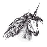 Unicorn horse animal sketch of magic creation. Unicorn, fantasy animal sketch with head of fairy horned horse or magic creation. Unicorn with spiraling horn vector illustration