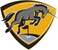 Unicorn Horse Charging Golf Course nero retro Fotografie Stock Libere da Diritti