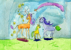 Unicorn horse family with their foal unicorn making magic. Stock Image