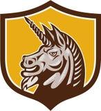 Unicorn Horse Head Side Crest rétro Photographie stock libre de droits