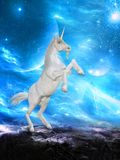 Unicorn Horse Rearing Up Fantasy. Unicorn horse with a horn. The mythical beast is rearing up. The animal is majestic looking with a surreal fantasy background Stock Images