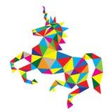 Unicorn Horse Riding geometrico Immagine Stock