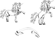 Unicorn horse sticker tattoo set Royalty Free Stock Images