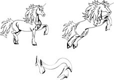 Unicorn horse sticker tattoo set2 Stock Photos