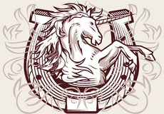 Unicorn Horseshoe Crest Stock Images